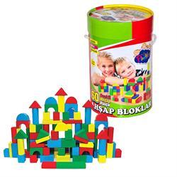 Silindir Kutuda Ahşap Renkli  Bloklar 60 Parça