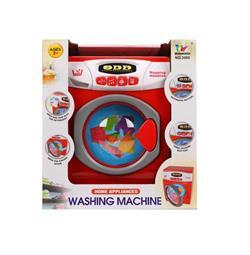Pilli Büyük Kırmızı Çamaşır Makinesi Oyuncak Seti