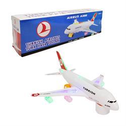 A380 Pilli Çarpıp Dönen THY Yazılı ışıklı Sesli Uçak