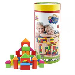 Silindir Kutuda Ahşap Renkli  Bloklar 100 Parça