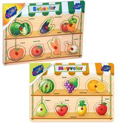 Ahşap Tutmalı Sebzeler ve Meyveler Puzzle
