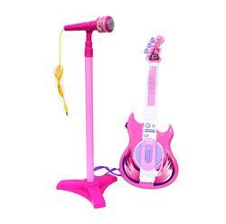 Mikrofonlu Elektro Gitar Oyuncak Pembe