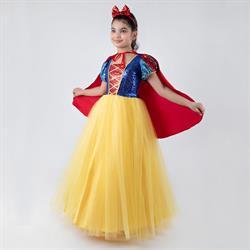 7-9 Yaş Tarlatanlı Pamuk Prenses Kostümü Pelerinli Taçlı