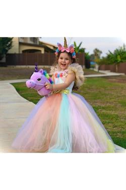 3-5 Yaş Unicorn Tarlatanlı Kız Çocuk Kostümü