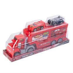 Kırmızı Oyuncak Araba Taşıyıcı Kapakları Açılan  Tır