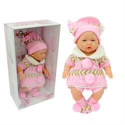 Gerçek Yüzlü Elbiseli Azra Et Bebek Pembe Bereli