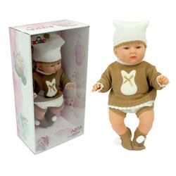 Gerçek Yüzlü Elbiseli Azra Et Bebek Beyaz Bereli