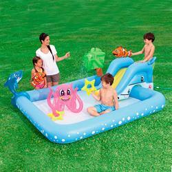 239*206*86 Cm Şişme Kaydıraklı Su Parklı Oyun Havuzu