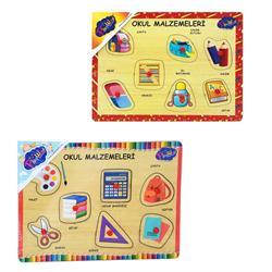 Ahşap Tutmalı Okul Malzemeleri Puzzle 1 Adet Fiyatıdır