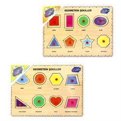 Ahşap Tutmalı Geometrik Şekiller Puzzle 1 Adet Fiyatıdır